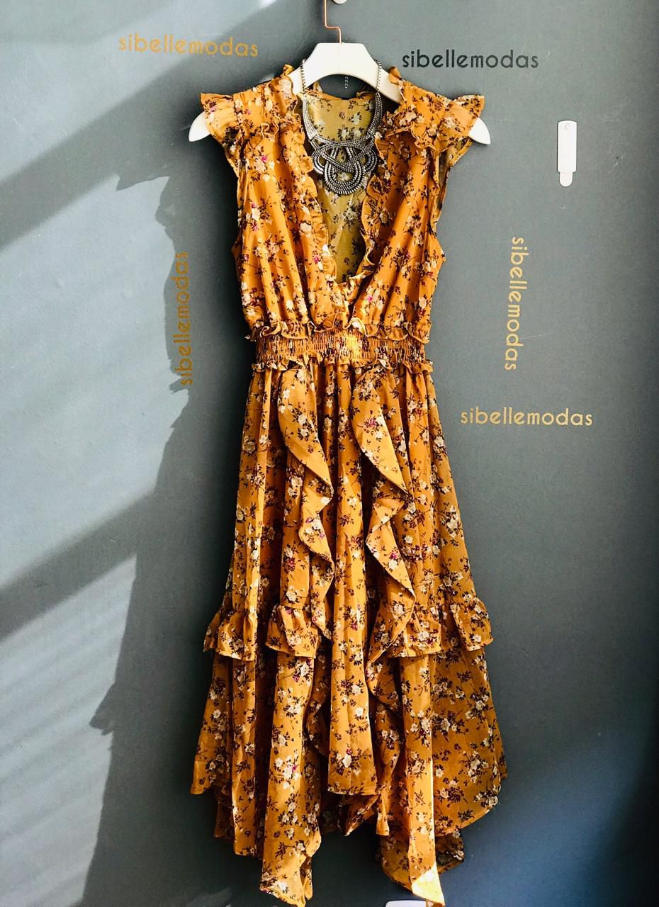 Vestido Esmeral Chifon Floral Cor Mostarda