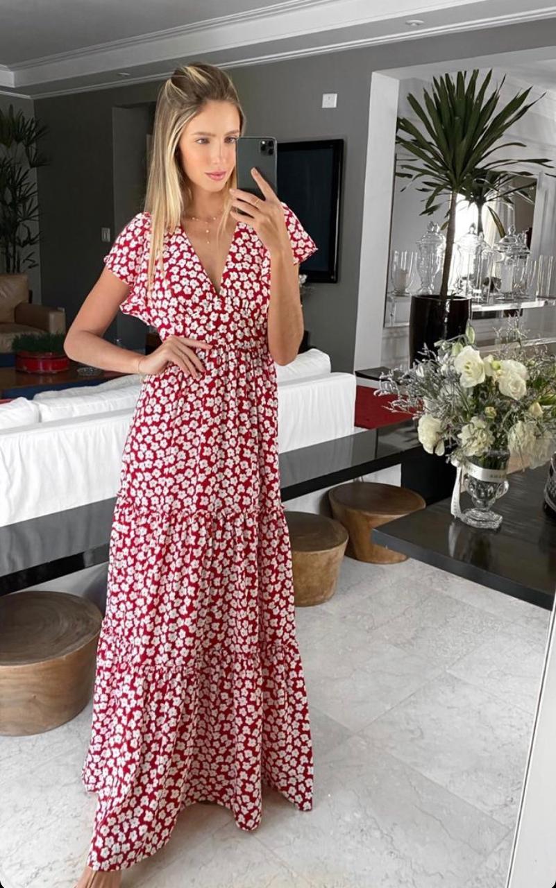 Vestido Esmeral Collona Floral Longo