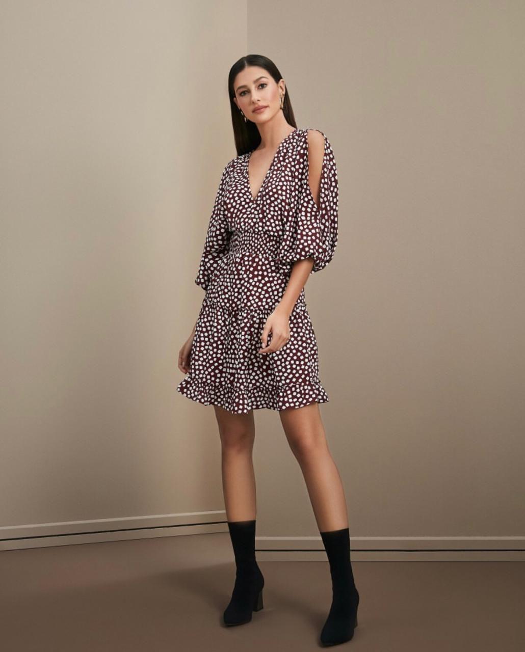 Vestido Esmeral Cores Vinho e Preto