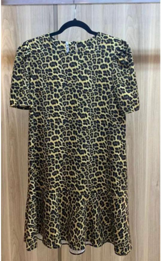 Vestido Esmeral Crepe 3% Elastano Animal Print Detalhe Babados