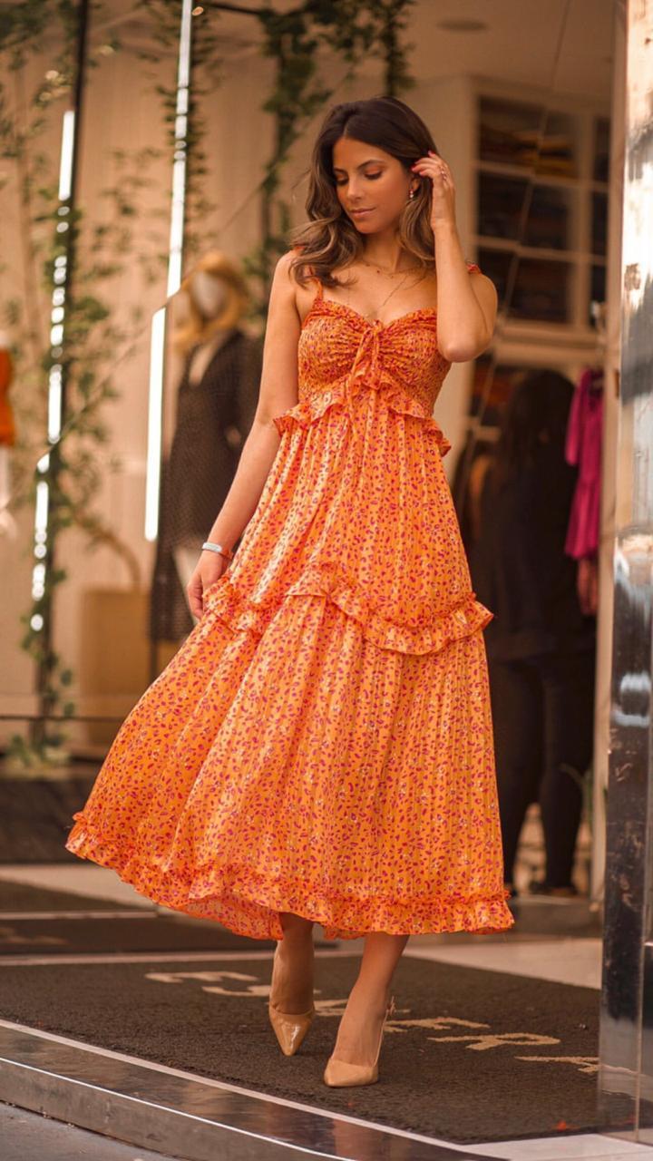 Vestido Esmeral Crepe Decote elastex