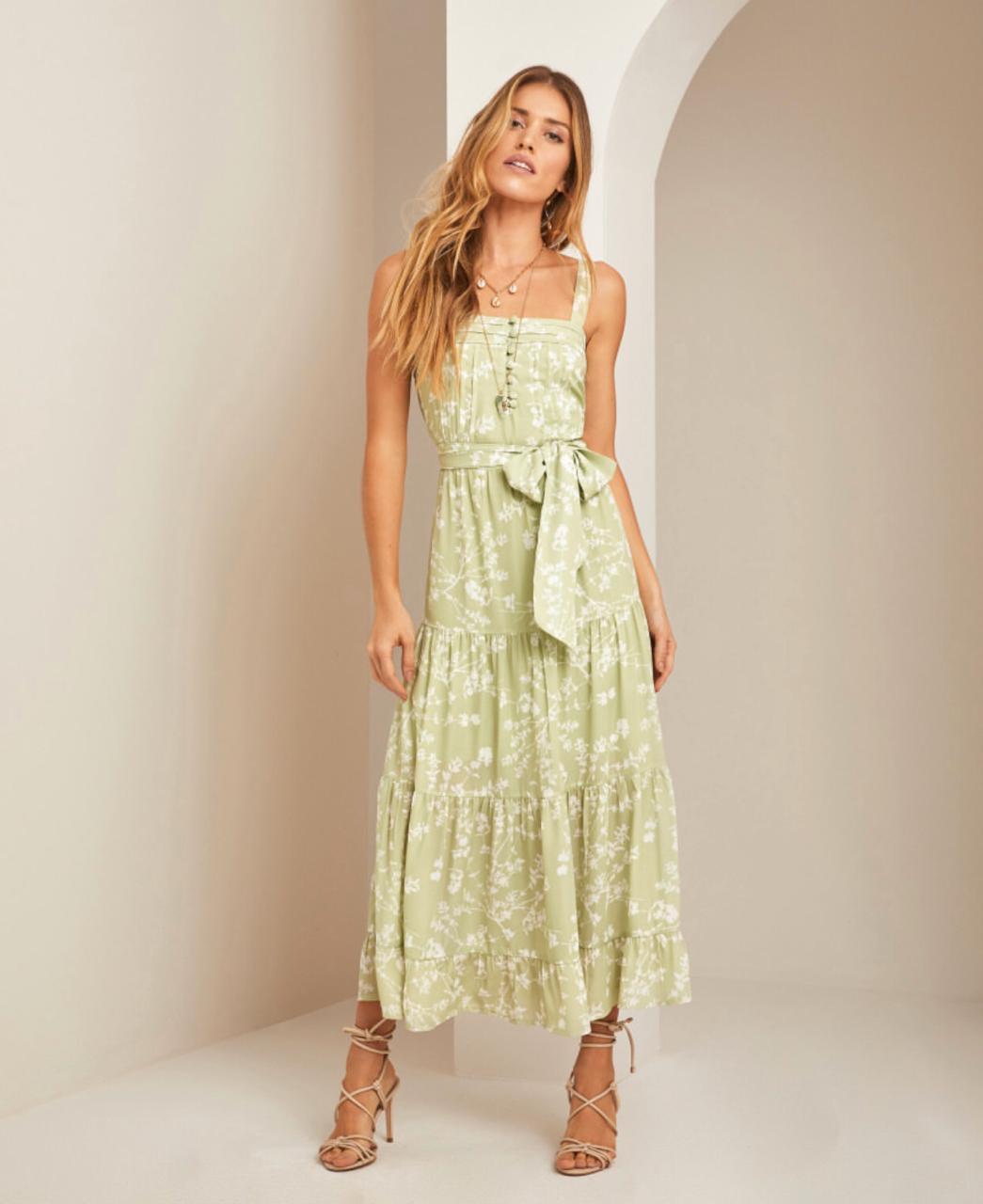 Vestido Esmeral Crepe Floral  3 Recortes +Faixa