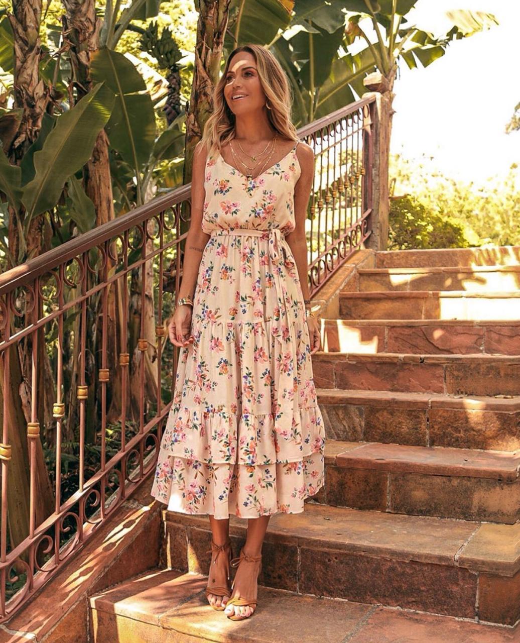 Vestido Esmeral Crepe  Floral Alça regulavel + faixa