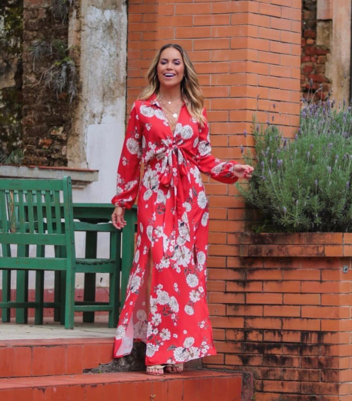 Vestido Esmeral Crepe Floral Com Laço