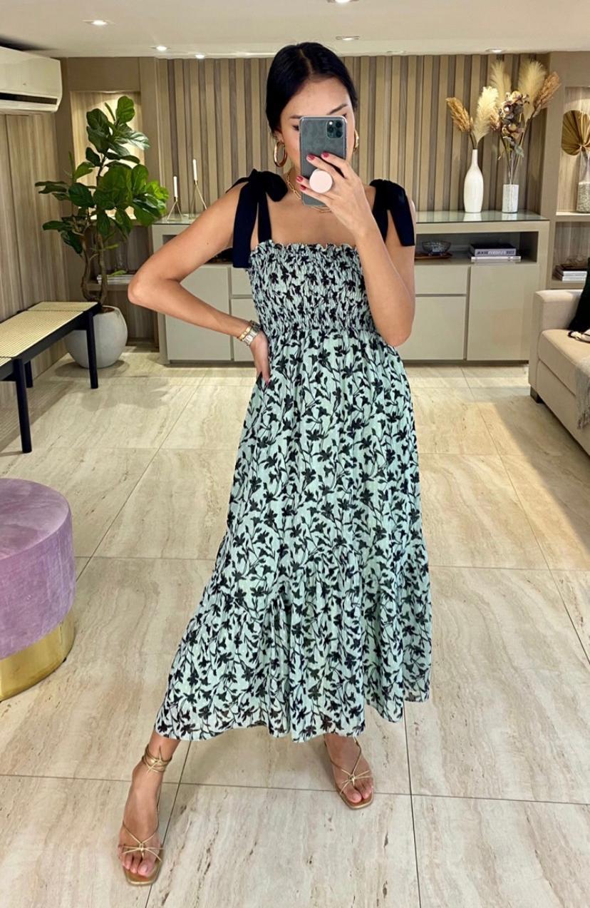 Vestido Esmeral Crepe Lastex Floral (Forro)