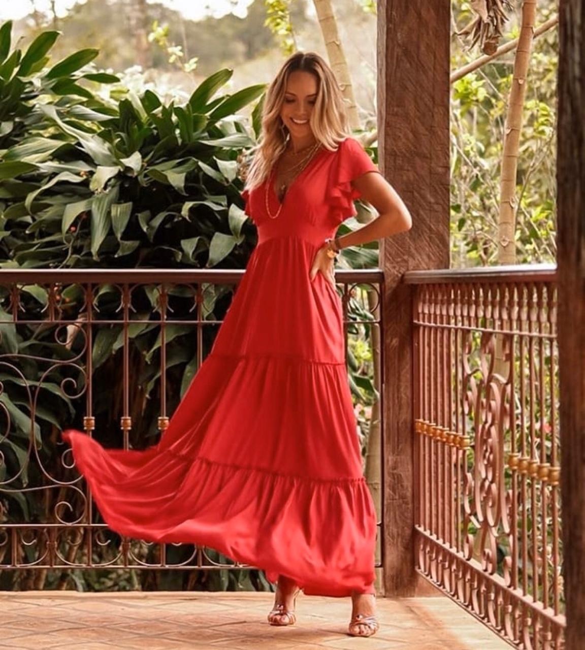 Vestido Esmeral Crepe  Longo