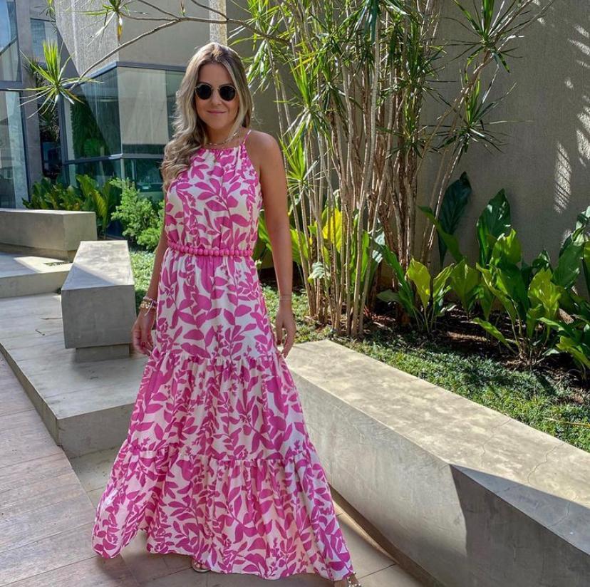 Vestido Esmeral Crepe Longo Floral (Não Acompanha Cinto)