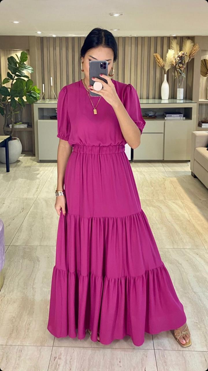 Vestido Esmeral Crepe Longo (Forro)