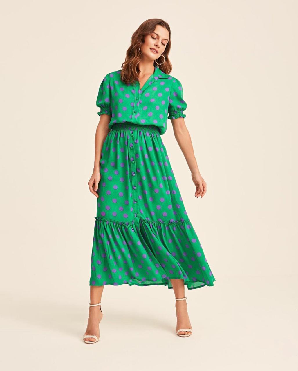 Vestido Esmeral Crepe Maxi Poa