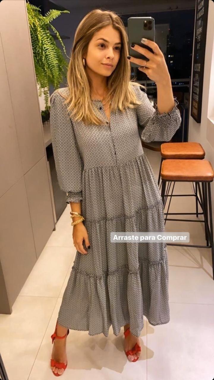 Vestido Esmeral Crepe Midi P&B
