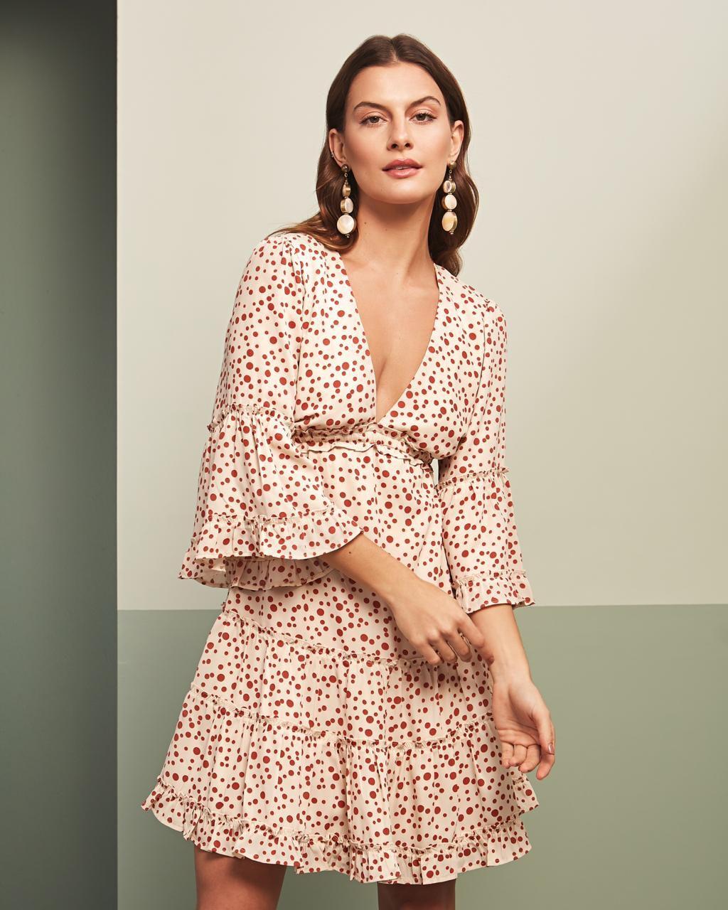 Vestido Esmeral Crepe Poá