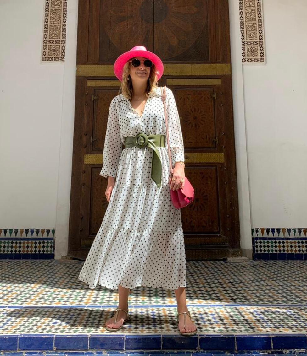 Vestido Esmeral  Crepe Poa com recortes