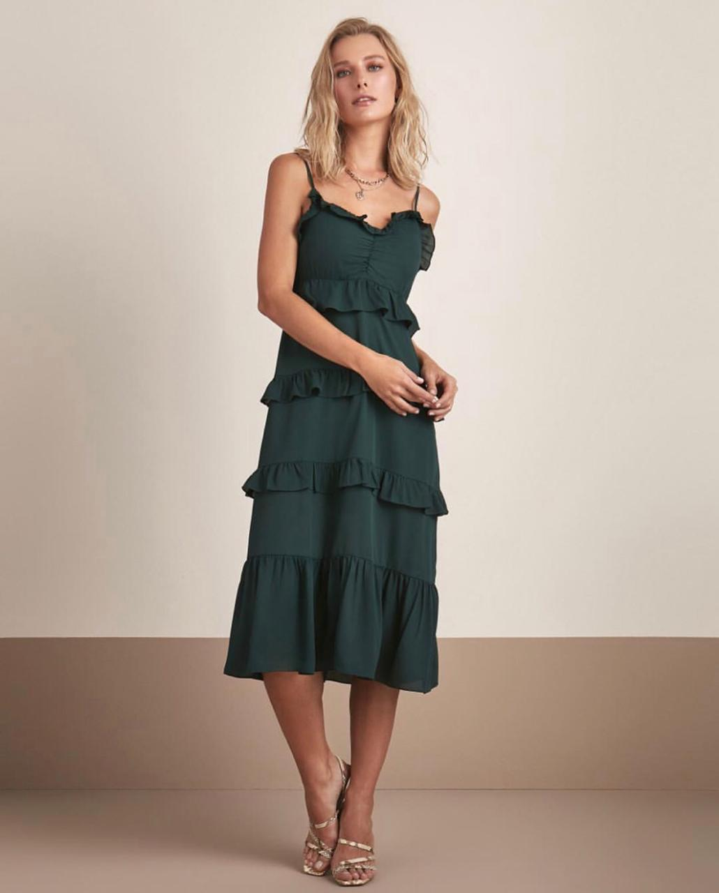 Vestido Esmeral Crepe Recortes