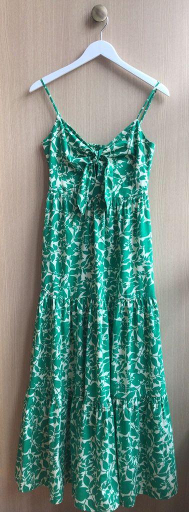 Vestido Esmeral Folhagem Tricoline Detalhe Laço Decote 100% Algodão