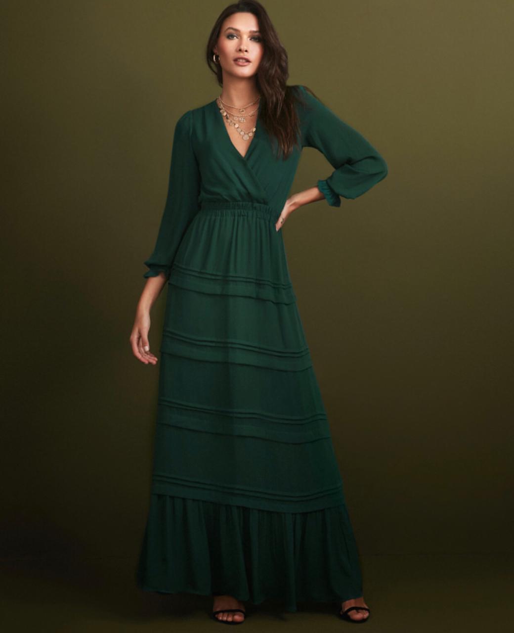 Vestido Esmeral   Longo Crepe