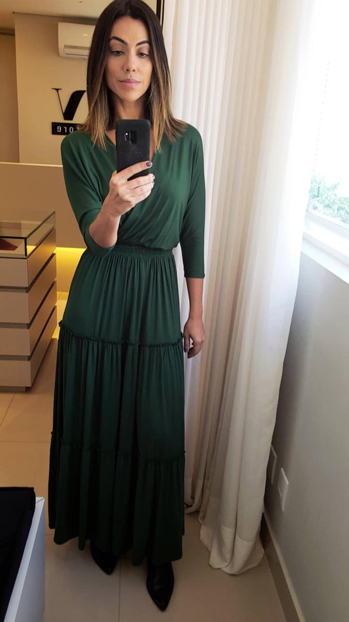 Vestido Esmeral Longo Visco Malha Cores Verde e Preto
