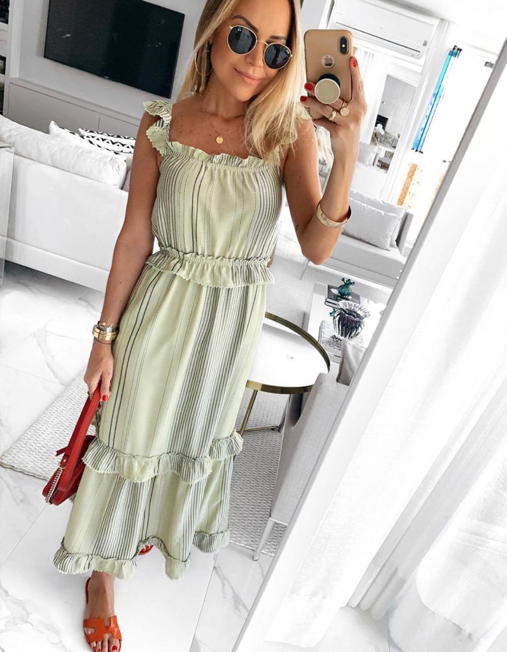 Vestido Esmeral Midi Listrado
