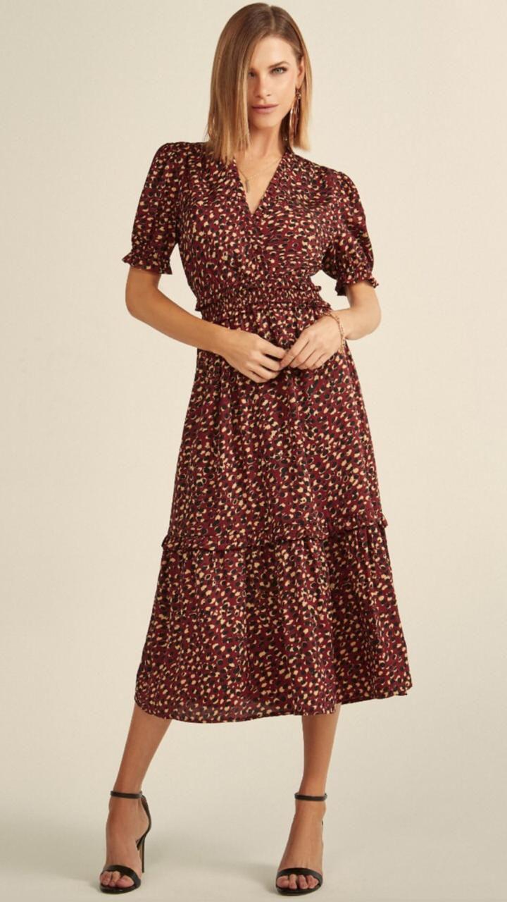 Vestido Esmeral Midi  Satin (Crepe) Onça