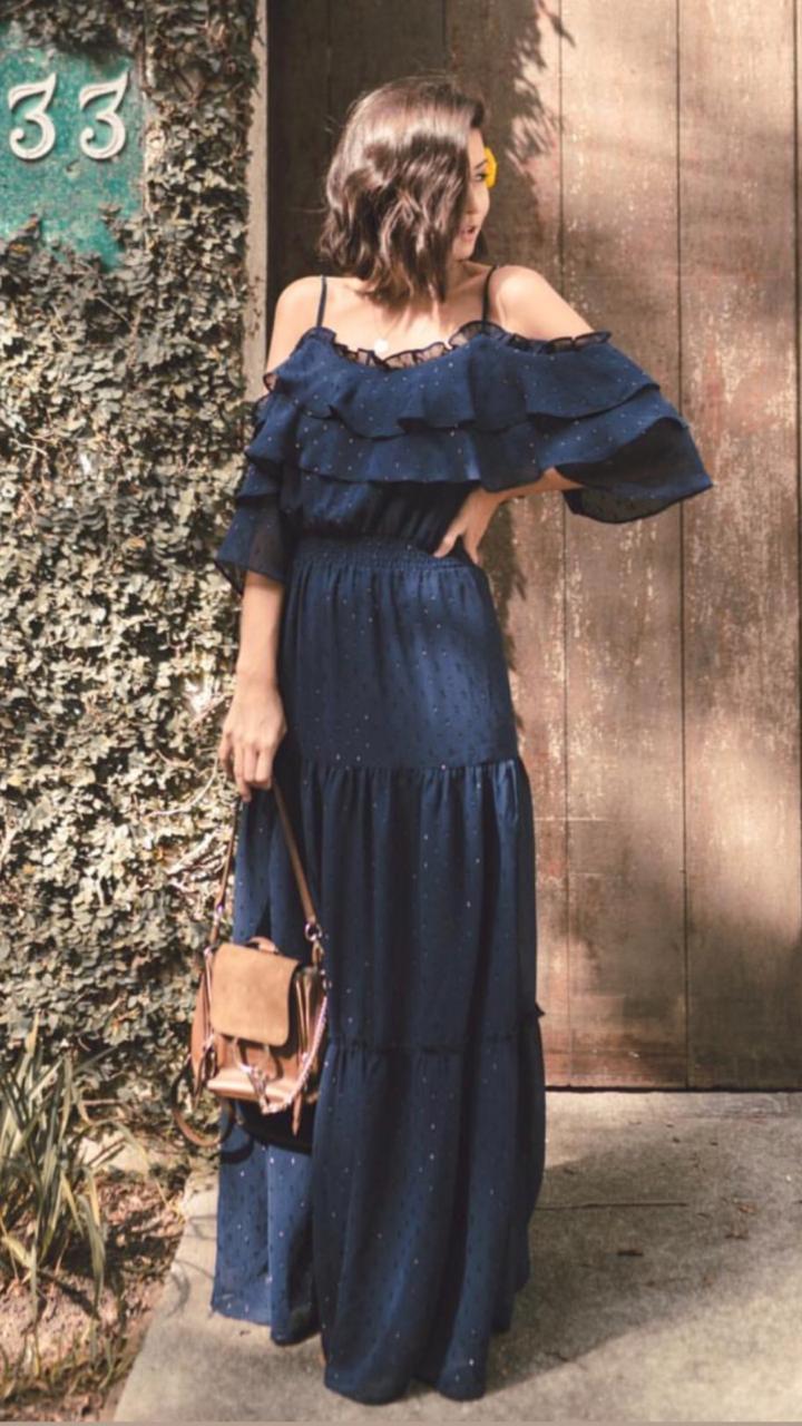 Vestido Esmeral Silk Shine Cores Preto e Marinho
