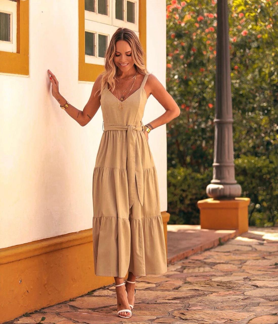 Vestido Esmeral Viscolinho + Faixa