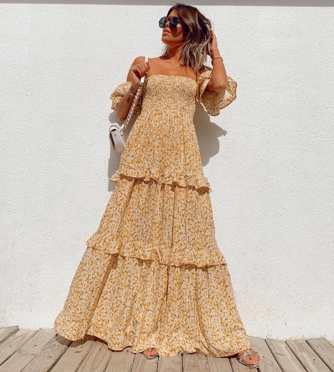 Vestido Esmeral Viscose Floral Ombro a Ombro