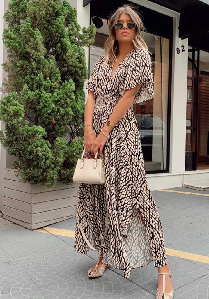 Vestido Esmeral Viscose Folhas