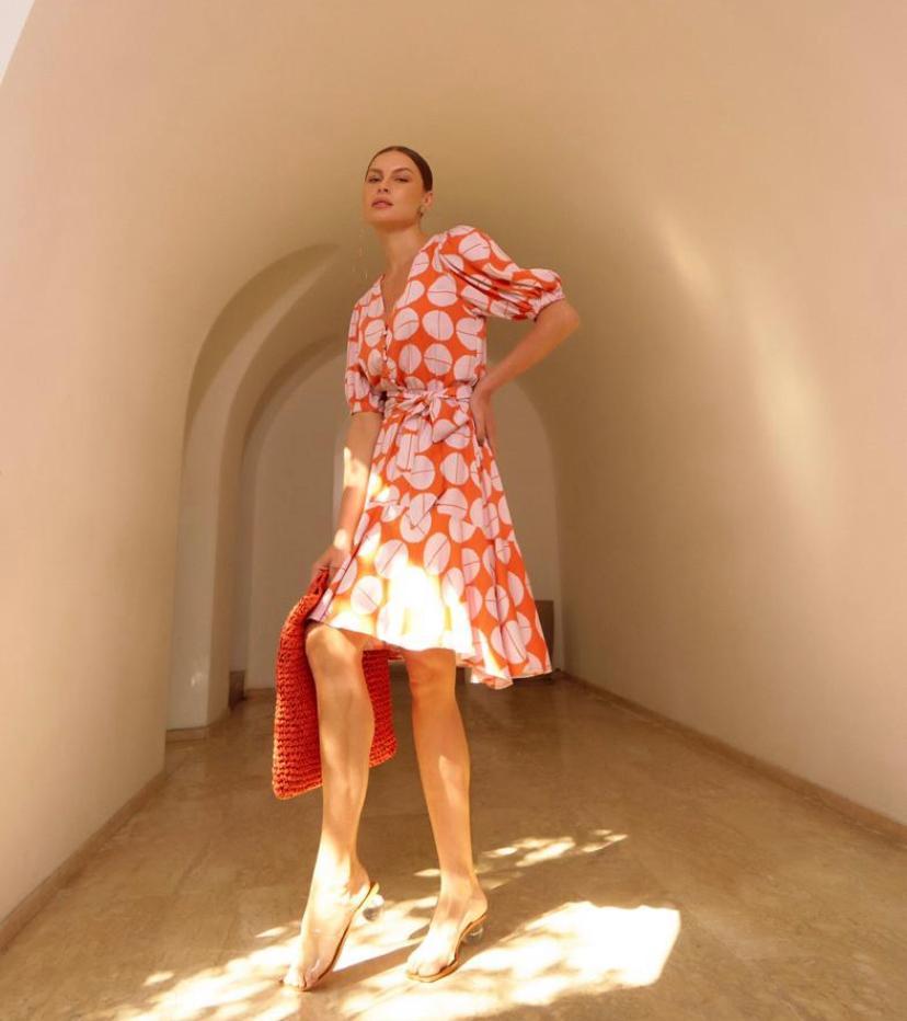 Vestido Estela Manga Bufante Viscose Twill Com Faixa