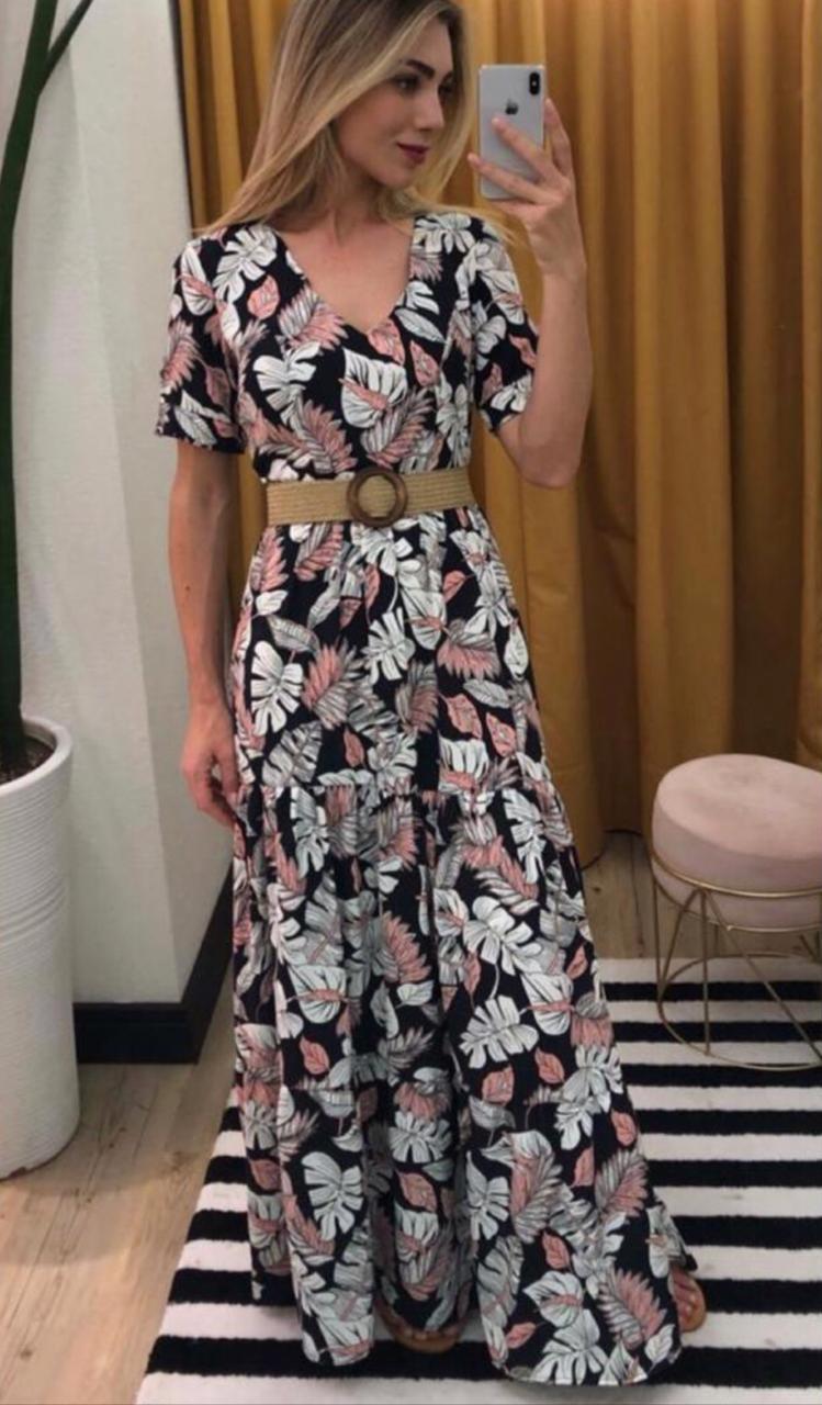 Vestido Ester Crepe Floral (Não Acompanha Cinto)