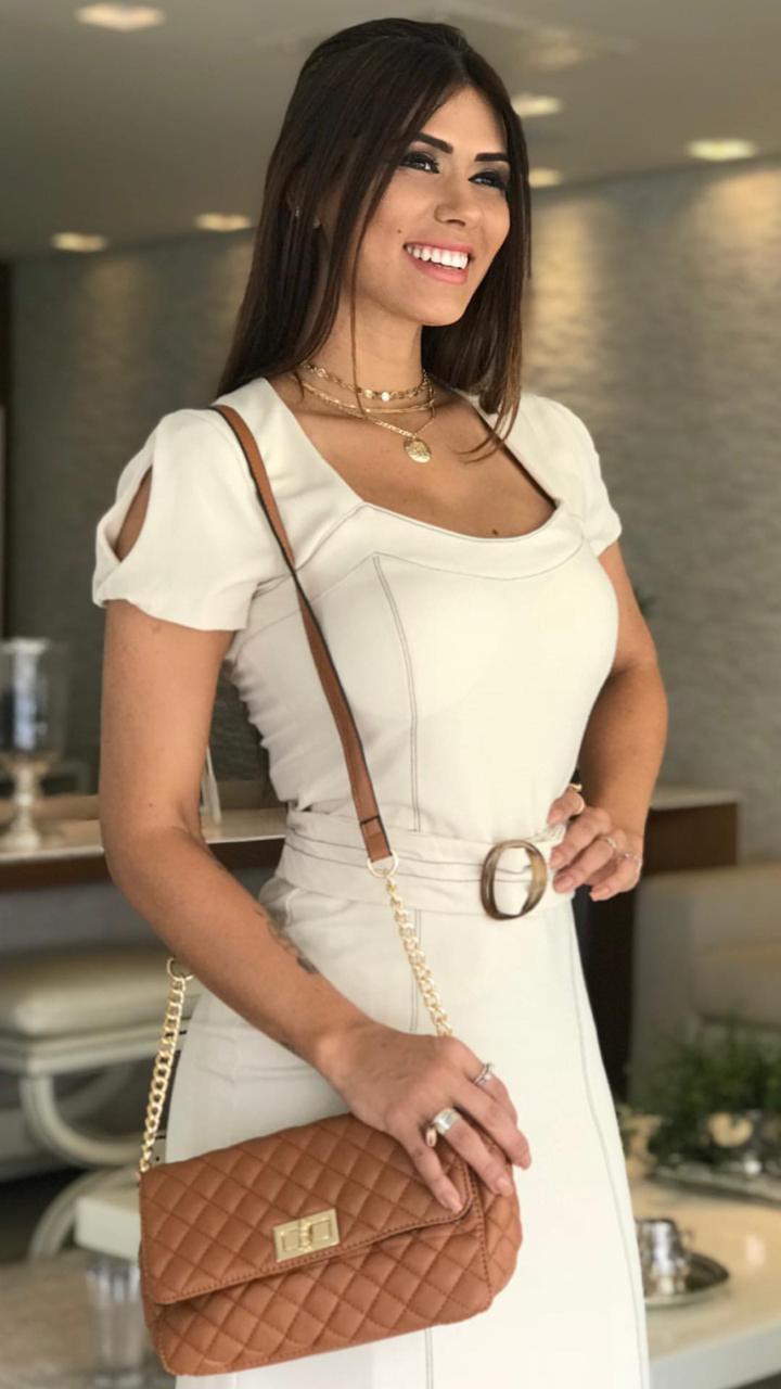 Vestido Evelin Alfaiataria   Detalhe Pesponto (Bojo e Forro) 4% Elastano