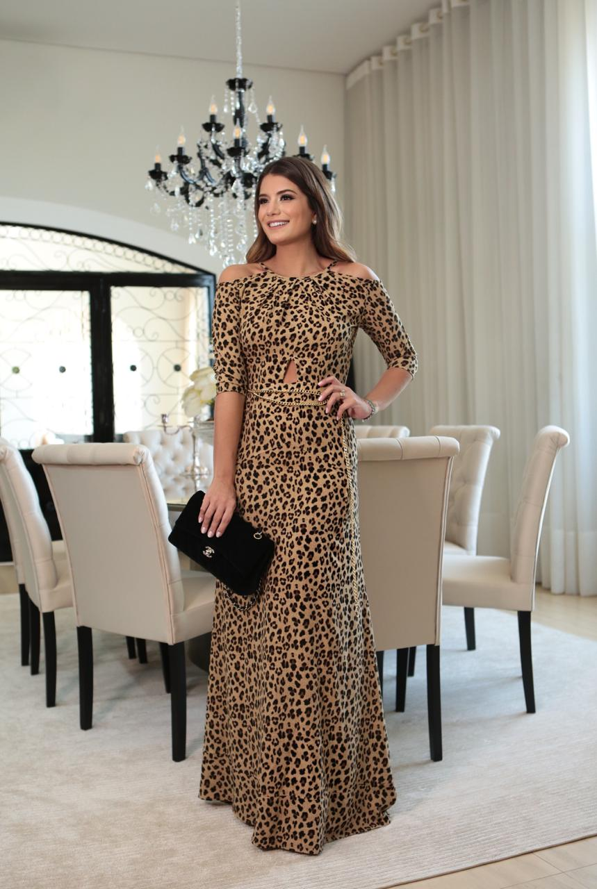 Vestido Fernanda Animalprint Crepe
