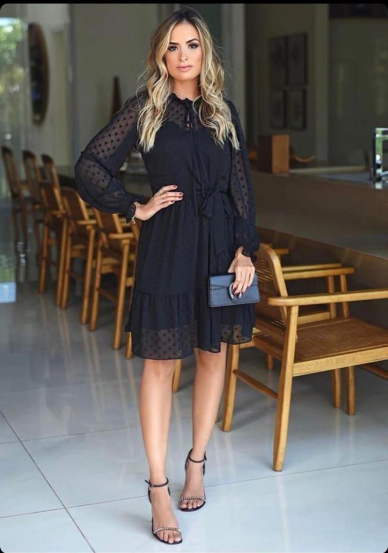 Vestido Fernanda Chiffon Poa Marias + Forro