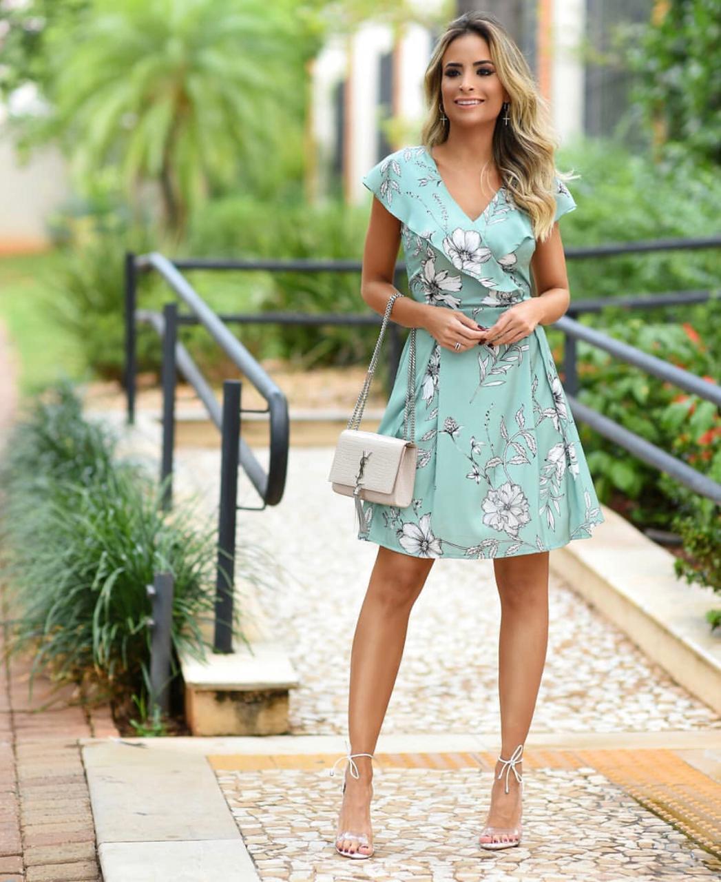 Vestido Fernanda Crepe Floral Jabot