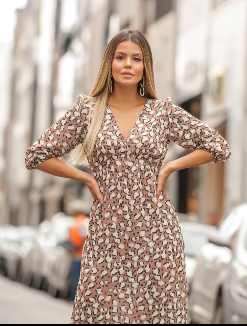 Vestido Fernanda   Crepe Onça Print