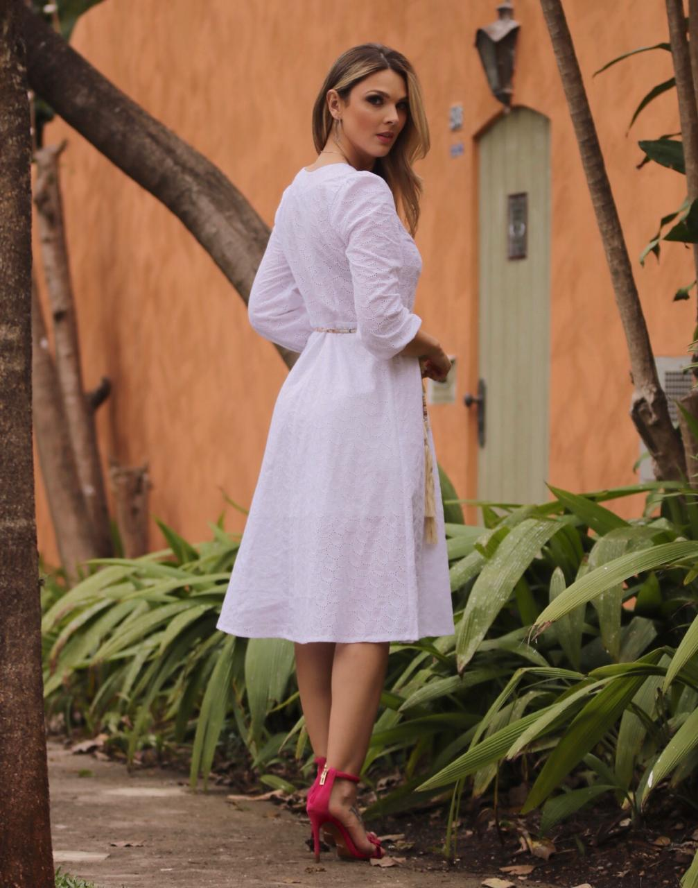 Vestido  Fernanda  Laise  Detalhe em Renda C/Cinto