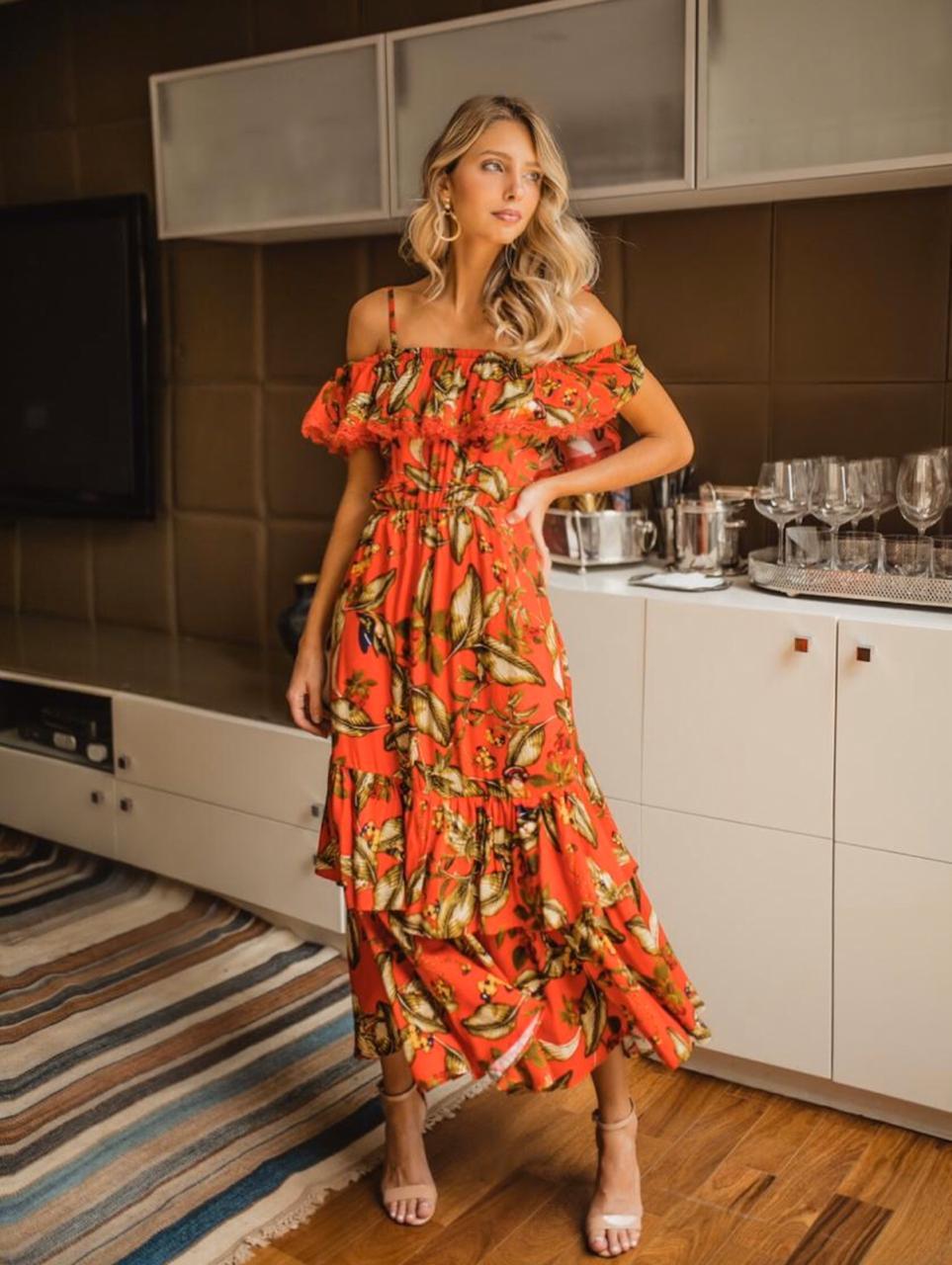 Vestido Flavia Viscose  Estampada