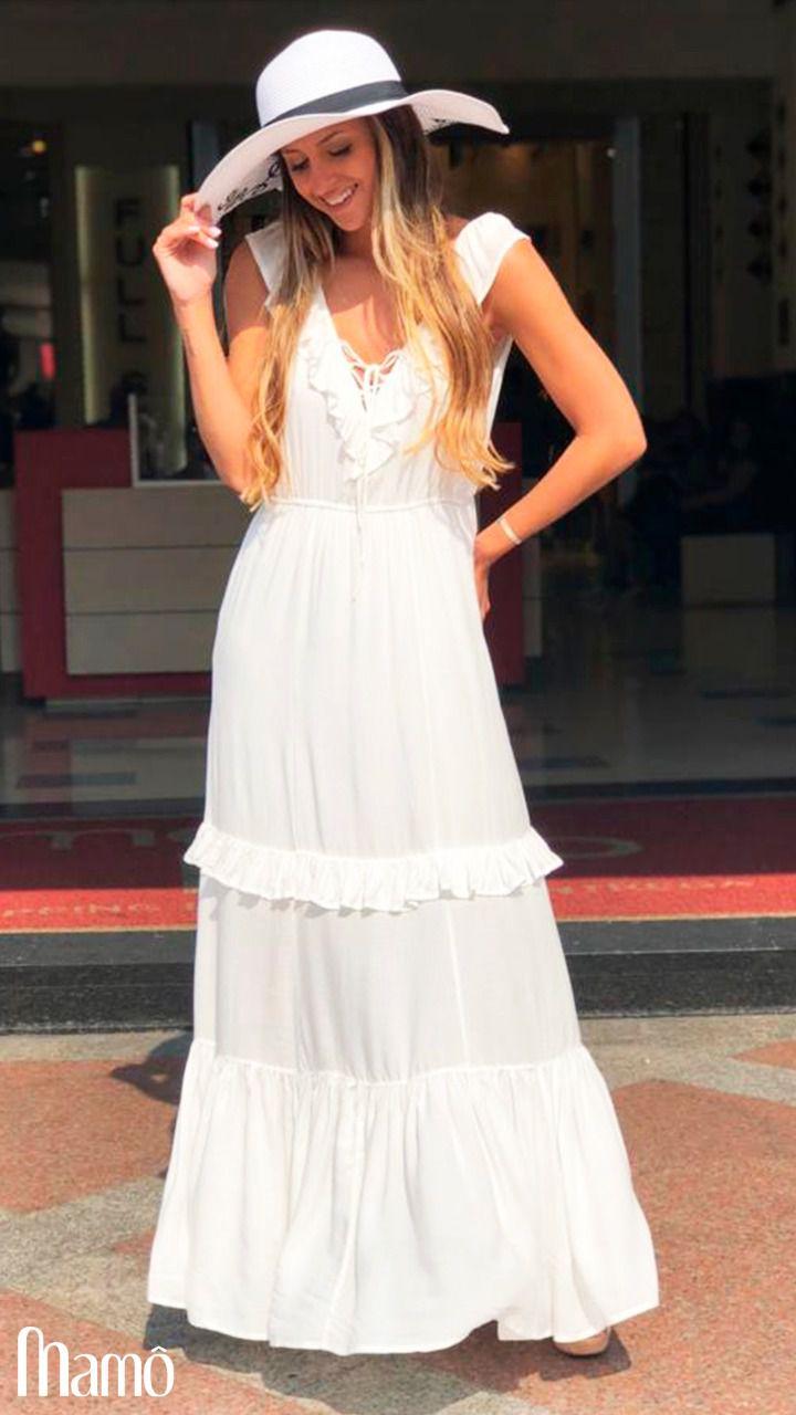 Vestido Francine Longo babados Viscose (forro)