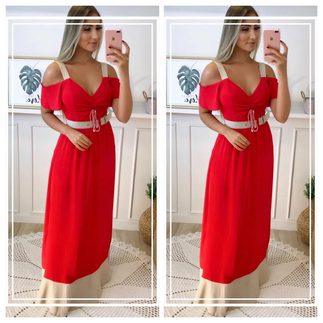 Vestido Giovana Longo Crepe  barrado em linho +cinto  Composição:  83%VISCOSE 17%LINHO