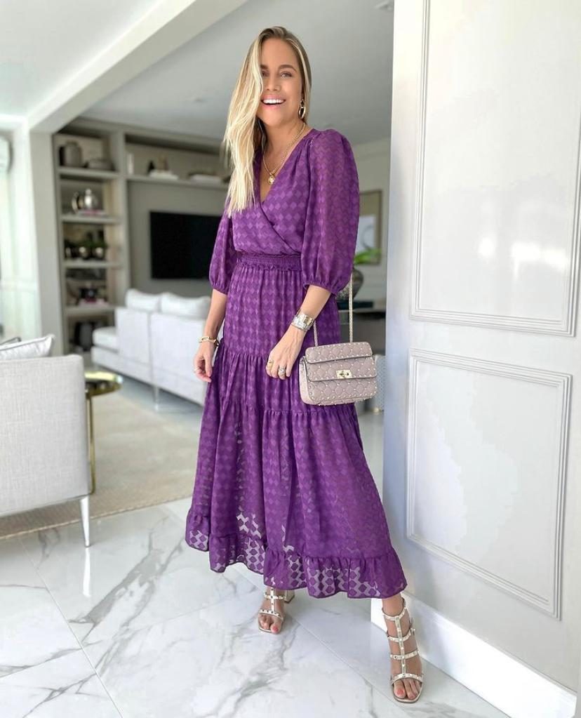 Vestido Giulia Crepe Devore Transpasse Lastex