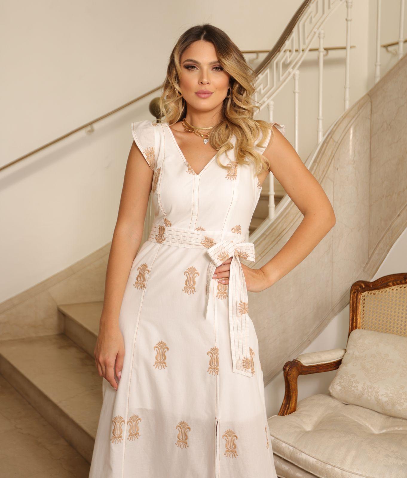 Vestido Grecia Bordado ( Forro) Detalhe Fenda + Faixa Amarração
