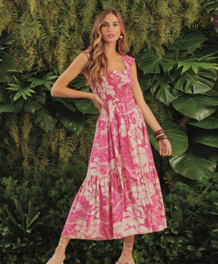 Vestido Hadja Viscose Print Floral (Forro) Detalhe Cintura Lastex Alcinha Babados + Faixa Amarração
