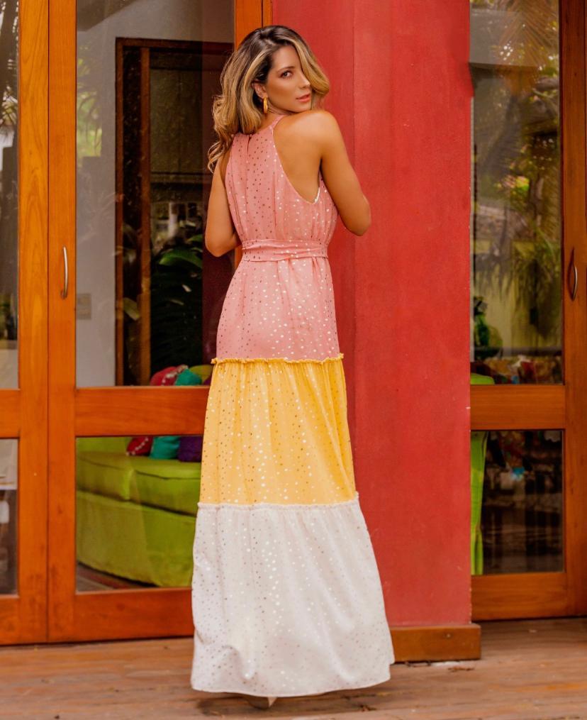 Vestido Heloisa Crepe Foil