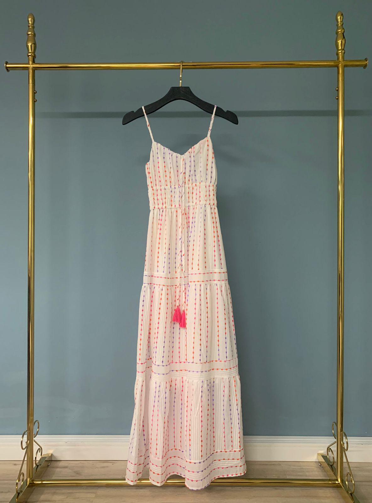 Vestido Hortensia Detalhe Lastex Cintura (Forro) Amarração 100% Algodão