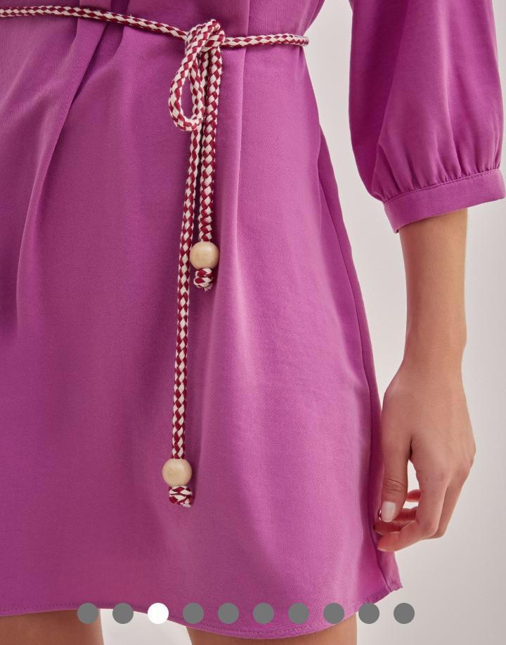 Vestido Isabela crepe Twil Detalhe Babados Busto + Cinto Corda Bicolor