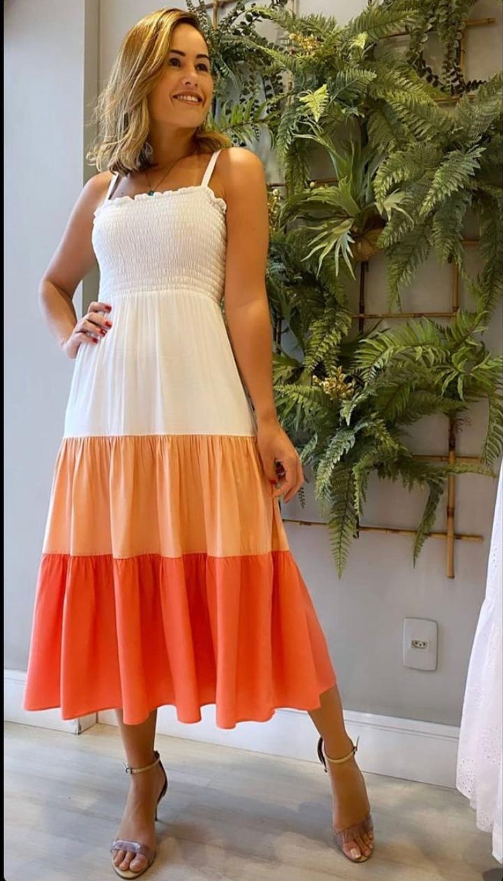 Vestido Ivone Midi Color Blocking Com Detalhe Lastex