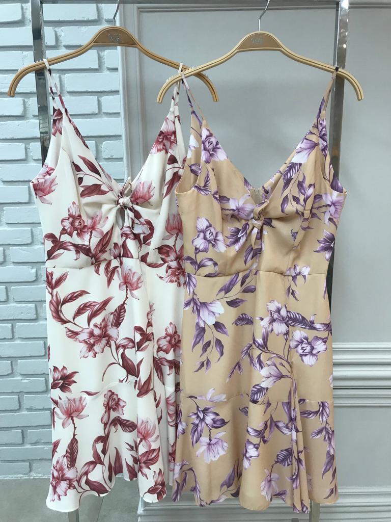 Vestido Jaqueline Crepe Floral Cores Off e Bege