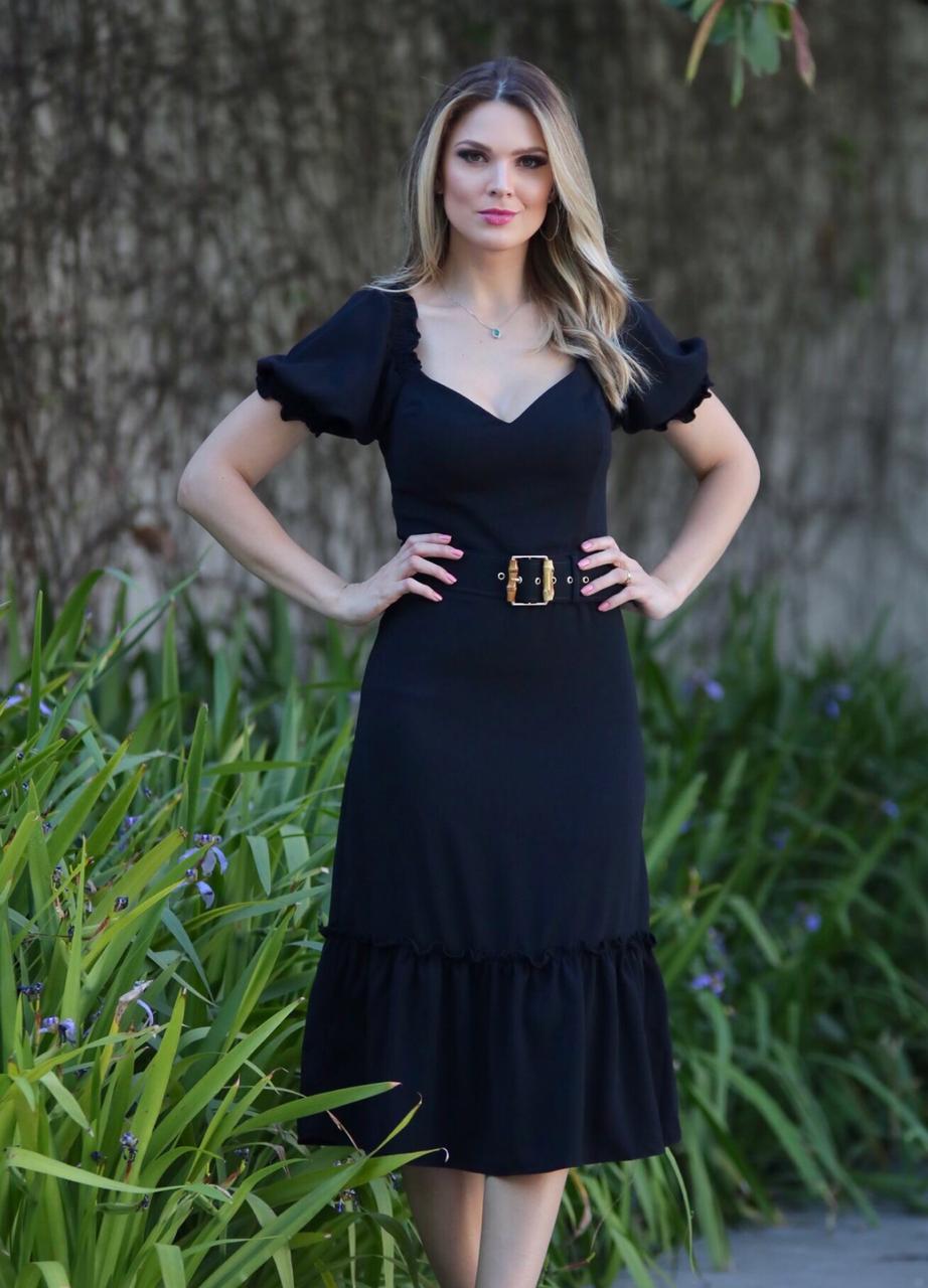 Vestido  Liliana Crepe Detalhe Lastex Ombro + Cinto