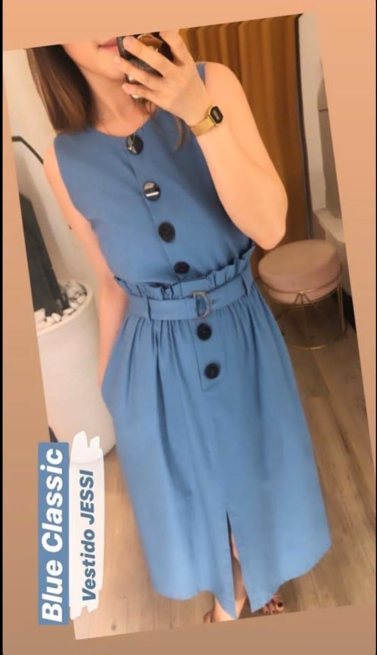 Vestido Jessi Viscolinho C/ Botões e cinto