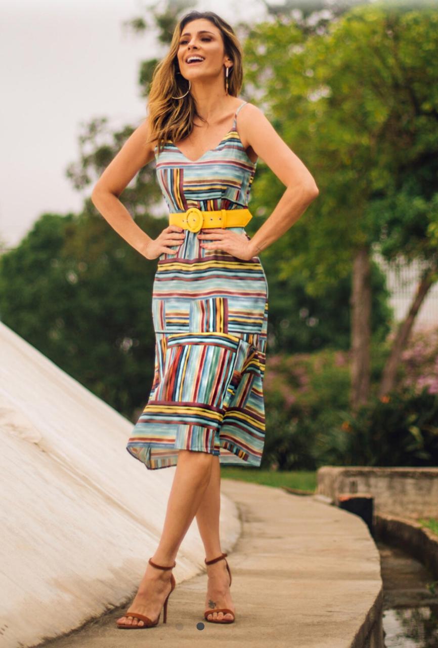 Vestido Jessica Crepe Print (forro) + Cinto