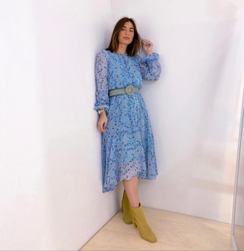Vestido  Joana  Crepe  Floral Forrado
