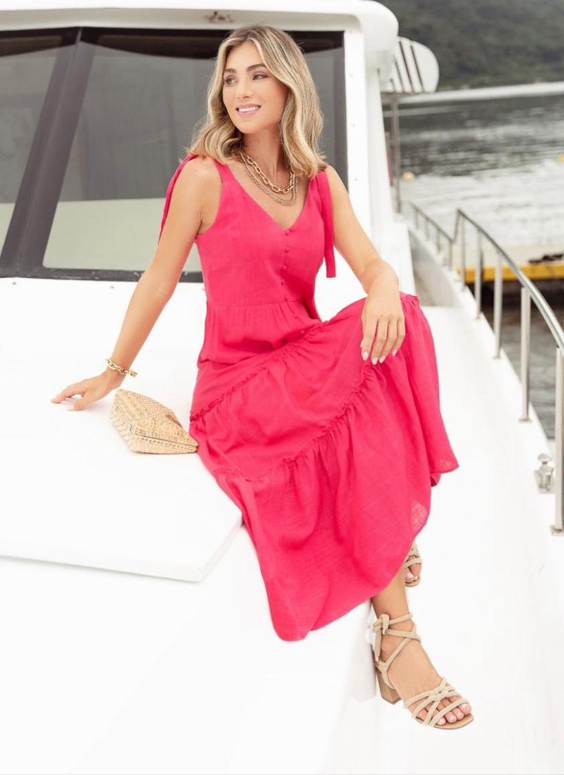 Vestido Jordana Viscolinho Botões Alça Amarração